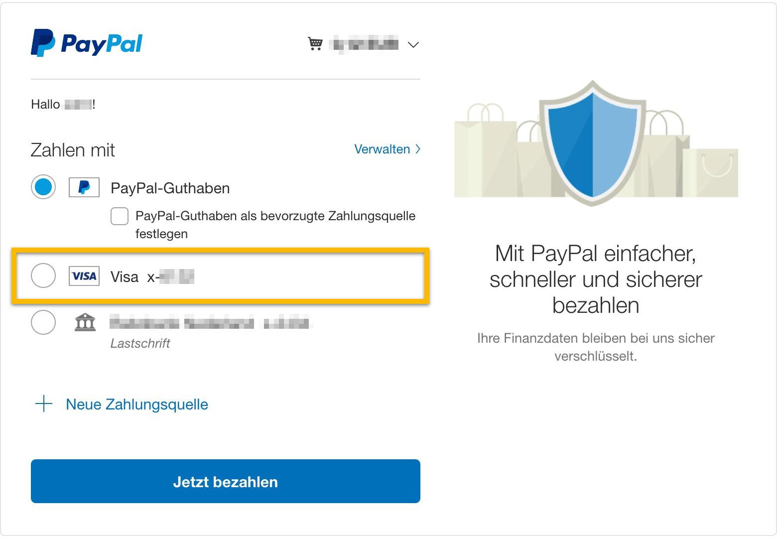 paypal screenshot zahlen mit